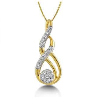 Jewel Corner Womens 18K Yellow Gold Meander Pendants 0.072 Cts Diamond