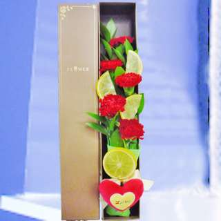5 Red Carnations with Fake Lemon Slices & Love Tag in Gift Box (019-CR)