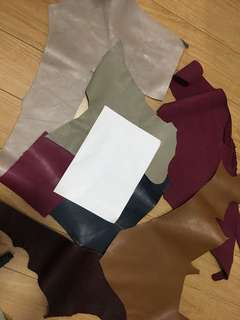 Leather pieces mixed colours cow hide