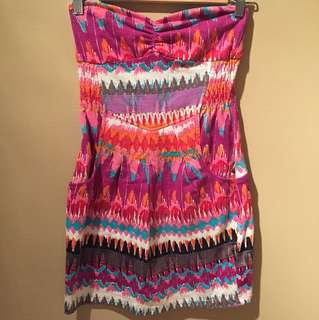 Billabong Strapless Tribal Cotton Mini Dress
