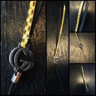 Gucci Mobile Lanyard In Snake Skin Yellow