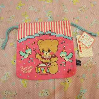 日本swimmer粉紅色小熊本收納袋bag