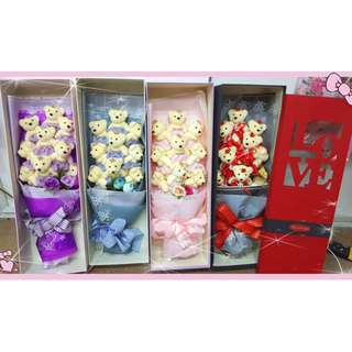 9pcs teddy bear bouquet / add Gift box Love Bouquet flower - 4 colour