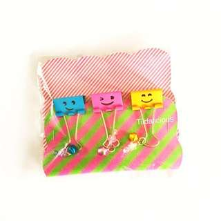 Cute smiley handmade binder clips with dangles