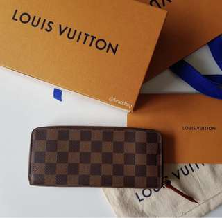 Authentic Louis Vuitton Damier Ebene Clemence Wallet N60534 Lv