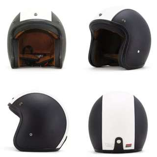 Black White Leather Motorcycle Helmet Open Face Three Button Snap Retro Vintage Vespa Scooter Cafe Racer Motorbike Leather Gloss Old School Harley Davidson