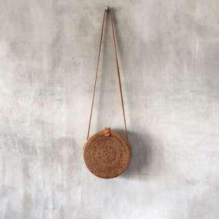 Balinese Natural Brown Round Handmade Rattan Bag