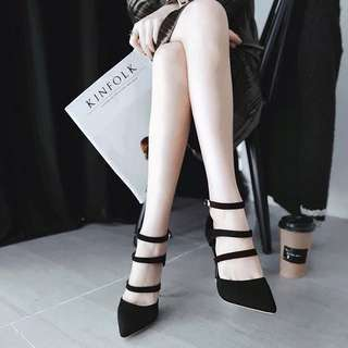 Ladies Pointed Toe Hollow Cut Buckled High Heels 👠
