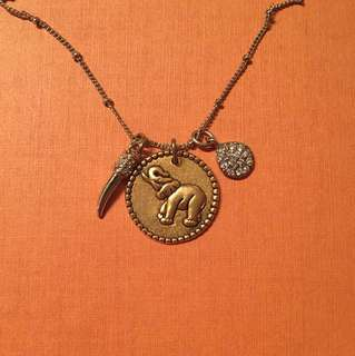 Sequin-NYC Gold Elephant Talisman Long Necklace