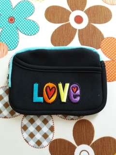 """LOVE"" Embroidery Blue Pouch"