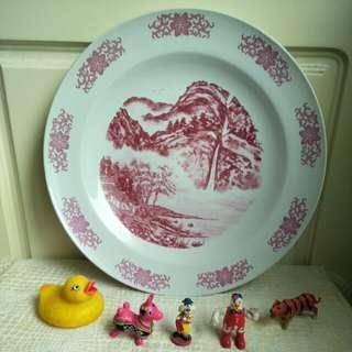 【LoveloVe】老台灣 早期 古早味 山水畫 陶瓷 辦桌盤 大圓盤 直徑40cm