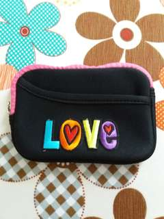 """""""LOVE"""" Embroidery Pink Pouch"""