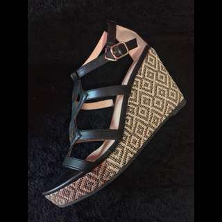 Gibi Collection Black Wedge Sandals