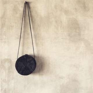 Balinese Black Round Handmade Rattan Bag