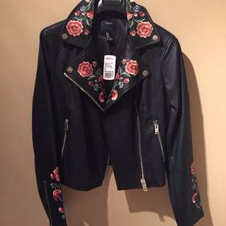 Forever 21 Faux Black Leather Jacket with Floral Detail