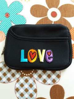 """LOVE"" Embroidery Black Pouch"