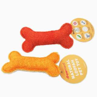 Loofah Bone Toy Golden Yellow or Red by Pawmeal