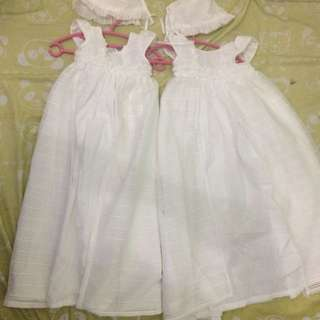 Baptismal dress for twins w/ hat
