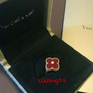 Van cleef VCA 梵克雅寶 18K 黃金 紅玉髓 帶鑽 四葉草戒指