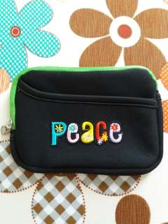 """""""Peace"""" Embroidery Green Pouch"""