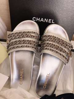 CHANEL 17K SILVER CHAIN MULES SLIDE SHOES SIZE 39