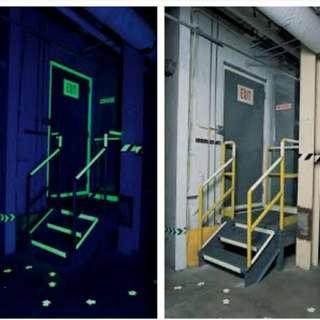 美國名牌 BradyGlo Glow-in-the-dark夜光貼,逃生,玩樂,親子樣樣得,99元一卷有47米啊,超抵玩