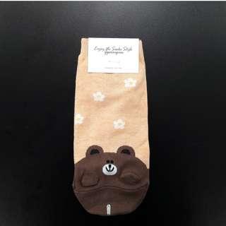 Cute Korean socks - LINE - Brown