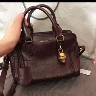 Alexander McQueen croc embossed mini padlock bag (burgundy)