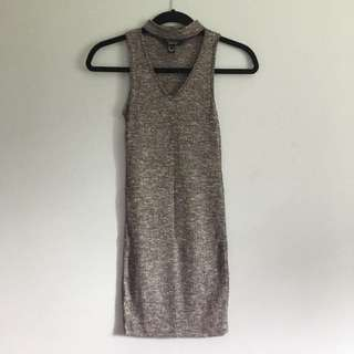 ​ Choker Neck Grey Dress
