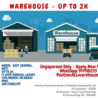URGENT 50x Warehouse Assistant (Up to 2k / Island Wide)