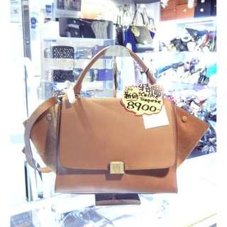 Celine Brown Leather Classic Trapeze Shoulder Hand Bag 塞利 啡色 牛皮 皮革 經典款 蝙蝠袋 手挽袋 手袋 肩袋 袋