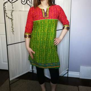 Beautiful Bright Kurti Gold Accents Small