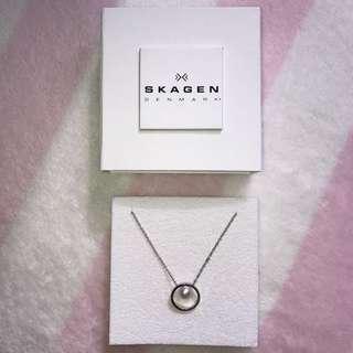 Skagen Short Silver-Tone Pearl Pendant Necklace
