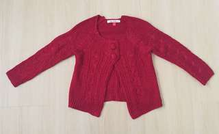 🆕 Red Knitted Girl Cardigan