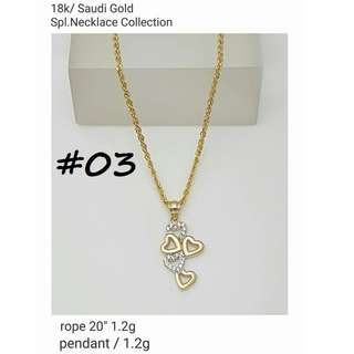 18K SPL SAUDI GOLD NECKLACE & PENDANT COLLECTION