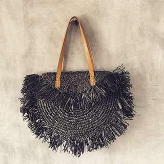 Balinese Black Handmade Rattan Fringe Shoulder Bag