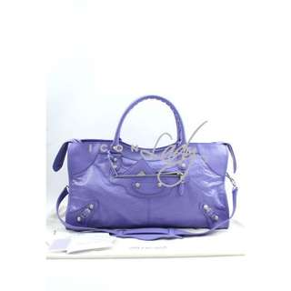 BALENCIAGA 282009 Giant 12 Silver Part time 粉紫色 (MAUVE) 銀扣手提袋 肩背袋 手袋