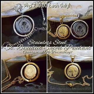 ST BENEDICT SWIVEL Medal Pendant and Necklace - NO FADING
