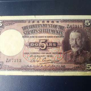 Staits settlement 1935 $5 in vf condition selling cheap