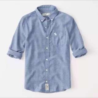 全新)13/14 155/76)Abercrombie fitch AF kids 男童 輕薄 法蘭 紐扣 襯衫 藍