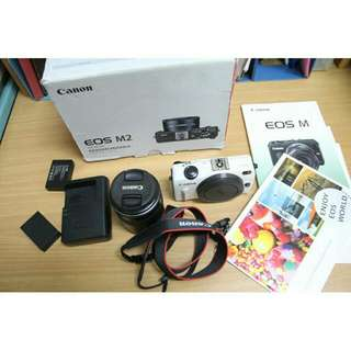 canon Eos M2 + lens 18-55mm ( white )