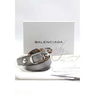 BALENCIAGA Holiday系列 236342 Classic Silver Pearly Bracelet Double Tour 銀灰色 (Gris) 亮銀扣雙圈手帶