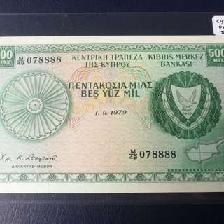 2 banknotes with semi solid nos cyprus 1979 500mil in unc while,bermuda in vf