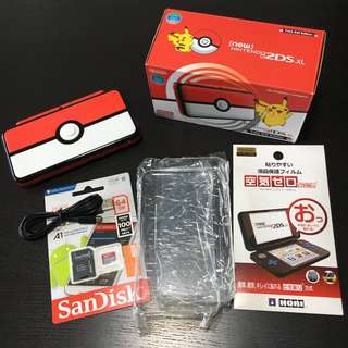 <modded with 64GB> Pokeball Special Edition *new* Nintendo 2DS XL + Accessories