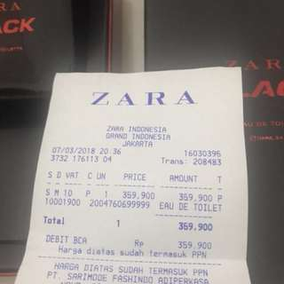 Zara Black Men's Parfume