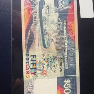 Singapore ship replacement note $50 with auspicious no Z/1 188128