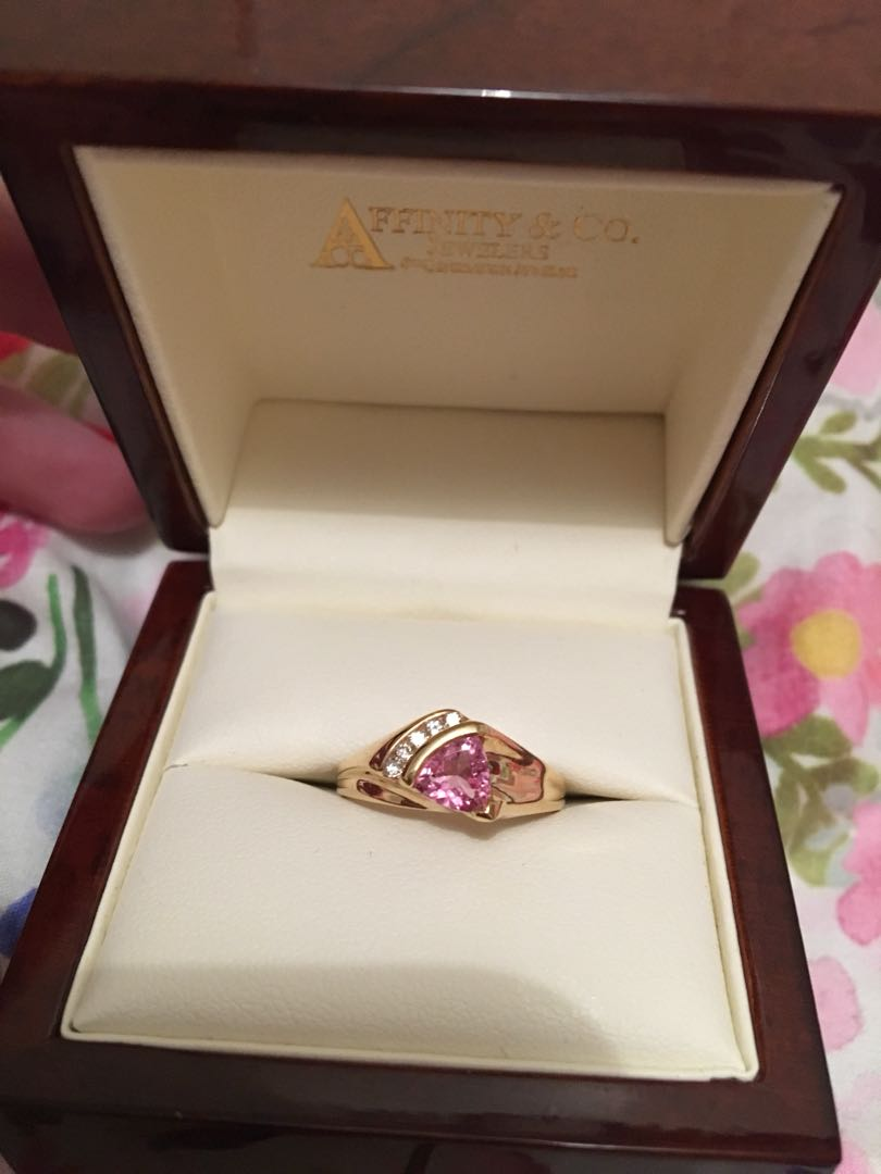 14k Gold, Diamond and Pink Sapphire Ring