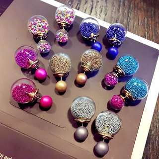 Korea crystal ball 2 way earrings