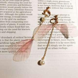 全新!春日款 羽毛不對稱夾式耳環 耳夾