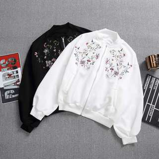 Instock Flora Embroidery Bomber Jacket (Free Mailing)